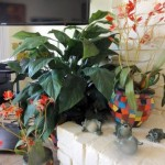 Finishing touches: Hiding the cables with floral arrangements
